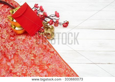 Chinese New Year Decoration On A Red Background