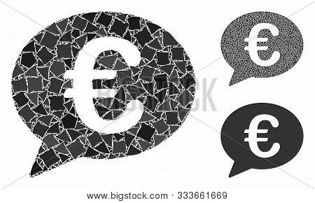 Euro Message Balloon Composition Of Trembly Parts In Different Sizes And Color Hues, Based On Euro M