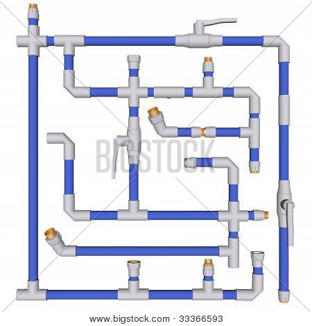 Pipes connected Fittings pvc system sewerage on white bakground 3d poster