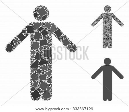 Ignorance Pose Mosaic Of Rugged Parts In Various Sizes And Color Hues, Based On Ignorance Pose Icon.