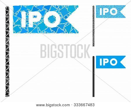 Ipo Flag Mosaic Of Bumpy Items In Different Sizes And Shades, Based On Ipo Flag Icon. Vector Bumpy E