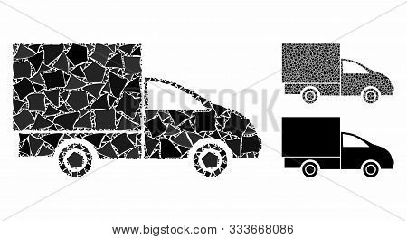 Lorry Mosaic Of Joggly Parts In Variable Sizes And Color Hues, Based On Lorry Icon. Vector Trembly P