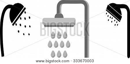 Shower Icon On White Background Washroom, Water, Wet