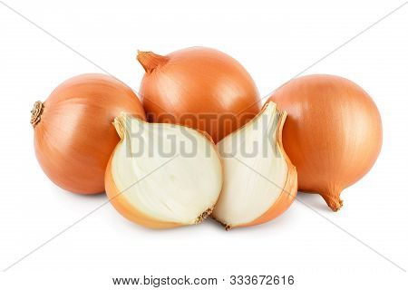 Yellow Onion Isolated On White Background Close Up