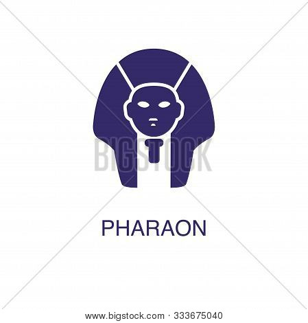 Pharaoh Element In Flat Simple Style On White Background. Pharaoh Icon, With Text Name Concept Templ