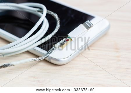 Unsafe Cable Phone Charger Lack Of Damage On White Background