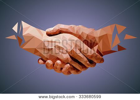 Low Poly Hands, Handshaking, Partners, Friendship Or Business Partnership Symbol. Vector Illustratio