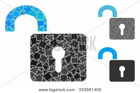 Unlock Mosaic Of Bumpy Pieces In Different Sizes And Shades, Based On Unlock Icon. Vector Uneven Ele