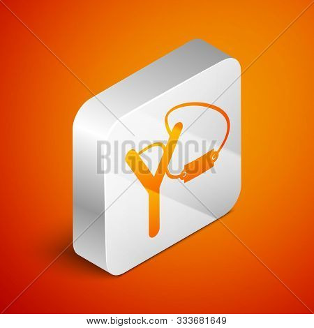 Isometric Slingshot Icon Isolated On Orange Background. Silver Square Button. Vector Illustration