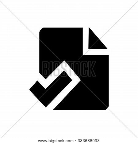 Check List Icon Vector Illustration. One Of Set Web Icons. Document With Check Mark Symbol. Chek Mar