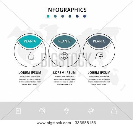Vector Flat Infographic Template. Line Circles With Text And Icons For Three Diagrams, Graph, Flowch