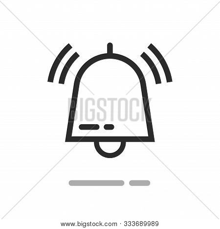 Bell Or Handbell Ringing Symbol Vector Icon, Line Outline Art Doorbell Or Jingle With Sound Waves Is