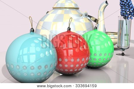 3d Illustration Of Christmas Tree Round Toy With Snow Flakes Design Close Up