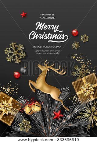 Christmas And New Year Holidays Background. Realistic Looking Christmas Decorations, Golden Jumping