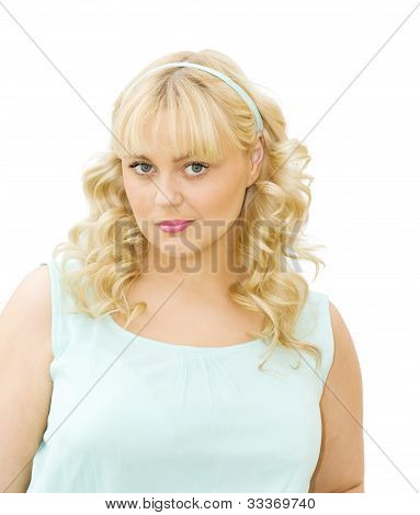 Summer Chic - Beautiful Woman With Blue Dress And Hair Band