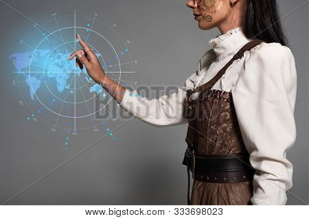 Cropped View Of Steampunk Young Woman Pointing With Finger At Digital Map Illustration