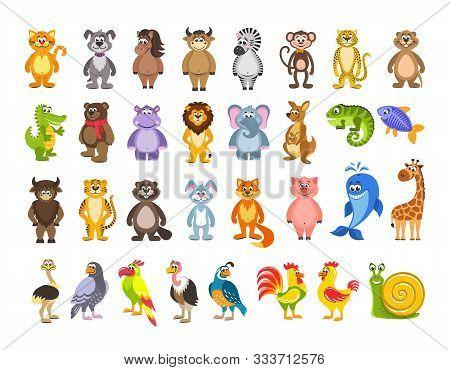 Big Set Of Animals And Birds. Lion, Kangaroo, Iguana, Fish, Hare, Pig, Giraffe, Ostrich, Snail. Cart