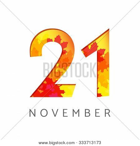 21 St Of November Calendar Numbers. 21 Years Old Autumn Logotype. Anniversary Digits With Leaves. Is