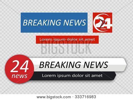 Tv News Bar. Lower Third Tv News Bars Set Vector. Television Broadcast Media Title Banner.