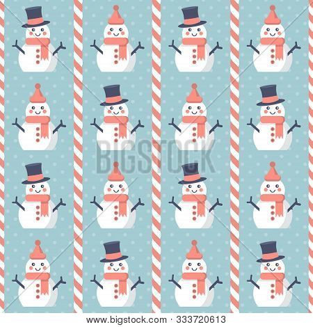 Christmas Pattern. Seamless Vector Illustration With Snowmen And Candy Canes