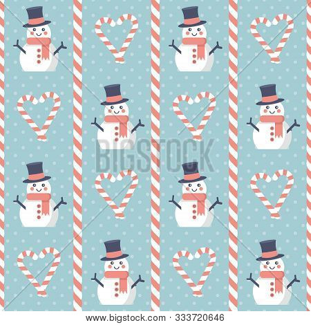 Christmas Pattern. Seamless Vector Illustration With Snowman And Heart-shaped Candies