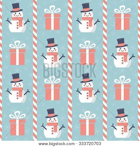 Christmas Pattern. Seamless Vector Illustration With Snowmen, Presents And Candy Canes