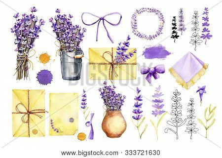 Big Set With Flowers And Sprigs Of Lavender, Bouquets In A Bucket And A Vase, Mail And Paper, Stains