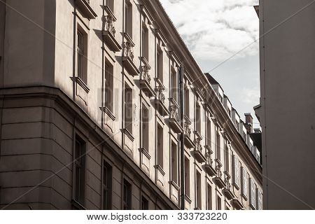 Typical Austro-hungarian Facades Wit Old Windows In A Street Of Innere Stadt, The Inner City Of Vien