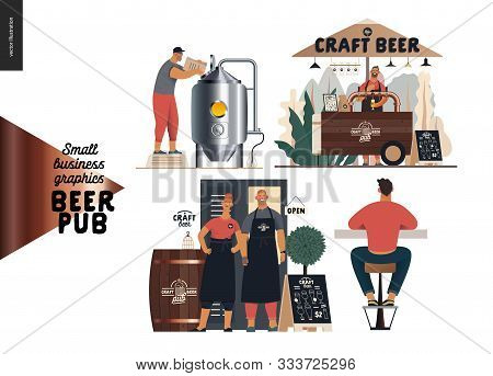 Brewery, Craft Beer Pub -small Business Graphics -bar Set -modern Flat Vector Concept Illustrations