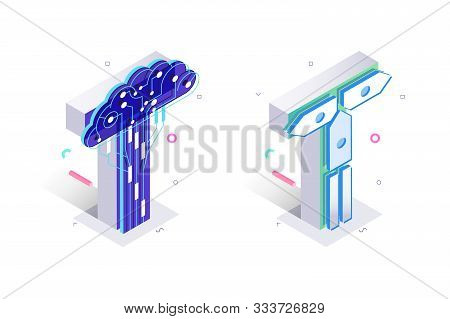 Blue 3d Isometric Letter T Made With Cellular Virtual Style Vector Illustration. Pair Of Multicolore