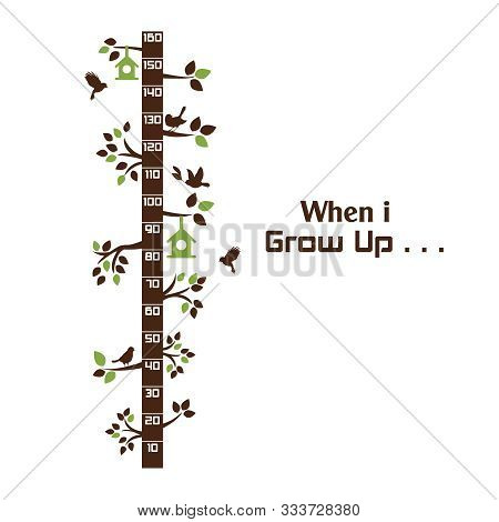 Kids Height Ruler With A Tree And Birds For Wall Decals, Wall Stickers - Vector