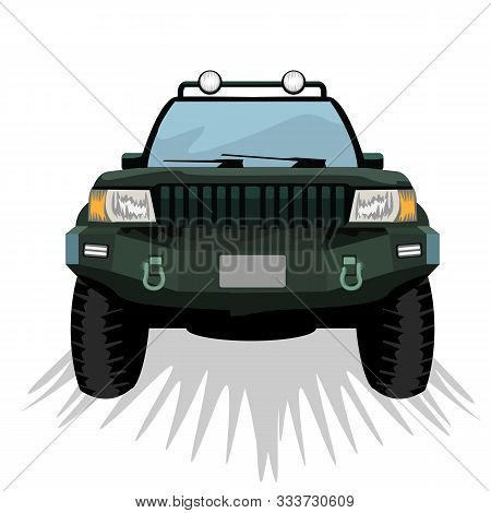 Offroad Suv Car With Front View Template For Labels, Emblems, Badges Or Logo. Vector Illustration.