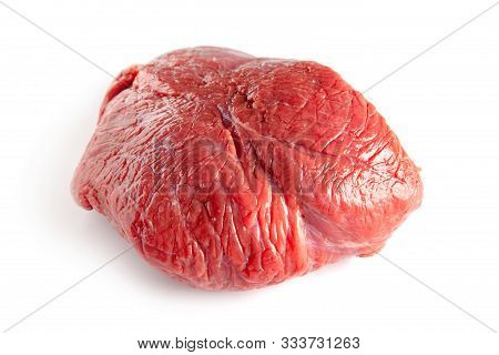 Raw Beef Piece With Spices Isolated On A White Background.