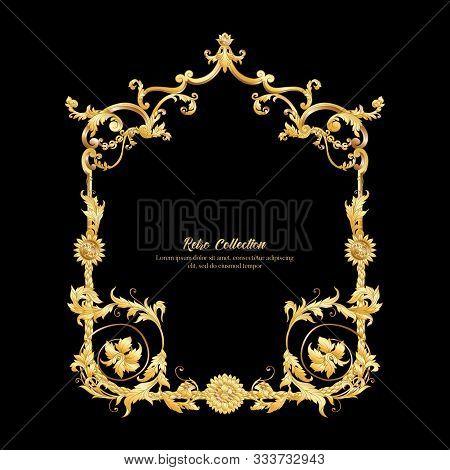 Elements In Baroque, Rococo Victorian, Renaissance Style. Trendy Floral Vintage Pattern. Vector Illu