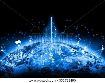 Globe Internet Network And Telecommunication Data Exchanges Over The Planet Earth And Gps Transferri