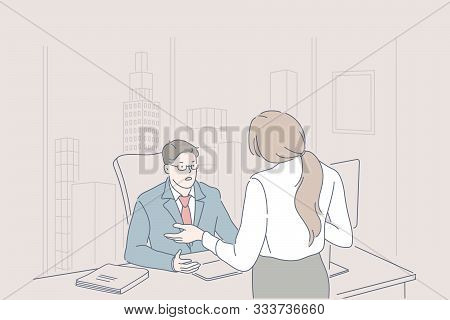 Business, management, leadership, dismissing concept. Disgruntled man, leader scolds guilty woman Secretary, clerk for being late to office. Manager in rage shouts on subordinate. Flat simple vector. poster