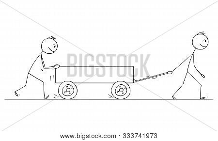 Cartoon Stick Figure Drawing Conceptual Illustration Of Two Men Or Businessmen Pushing Empty Cart Or
