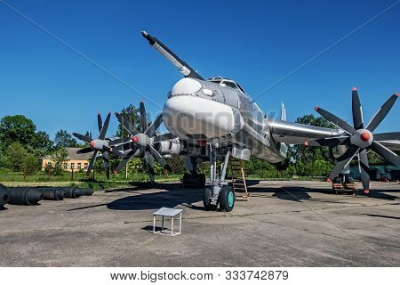 Poltava, Ukraine - October 19, 2019: Tupolev Russian Tu-95 Bear Bomber. Poltava National Military Hi