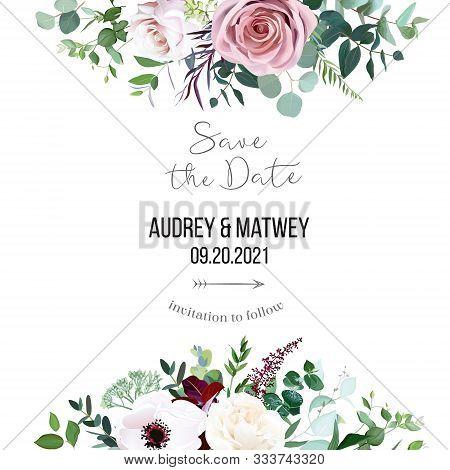 Dusty Pink Rose, Pale Flowers, White Anemone Horizontal Botanical Vector Design Banner. Eucalyptus,
