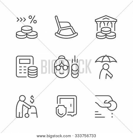 Set Line Icons Of Retirement Or Pension Isolated On White. Interest, Rocking Chair, Calculating, Mon