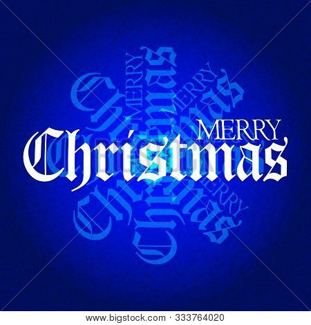 Merry Christmas Decorative White Text Over Textured Festive Blue Background