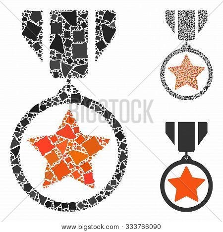 Army Medal Mosaic Of Trembly Items In Variable Sizes And Shades, Based On Army Medal Icon. Vector In