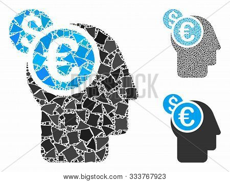 Banker Mosaic Of Bumpy Items In Different Sizes And Color Hues, Based On Banker Icon. Vector Bumpy D