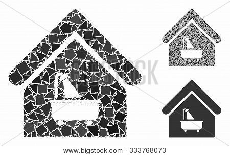 Bathroom Mosaic Of Trembly Items In Various Sizes And Color Tones, Based On Bathroom Icon. Vector Ru