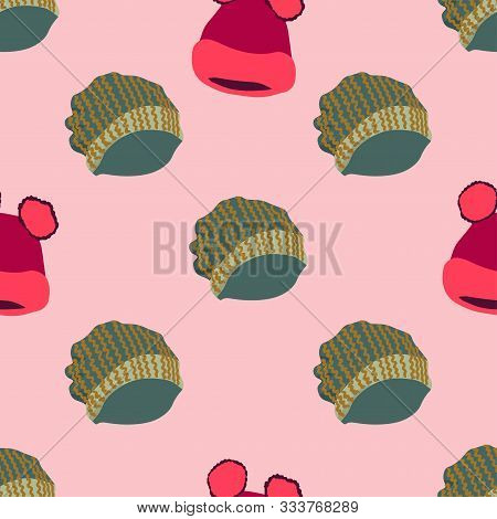 Winter Headwear. Illustration Of Knitted Hats With Pom Pom In Seamless Pattern On Pink Background. W