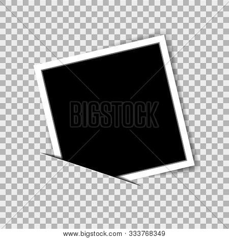 Realistic Photo Frame In Mockup Style On Isolated Background. Vector Photo Frame On Transparent Back
