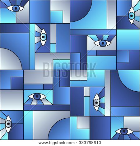 poster of Trendy pattern with eyes in geometric shapes grid 80s and 90s vintage fashion fabric print. Patches composition tile. Open eyes bauhaus geometric seamless pattern. Interior vector design.