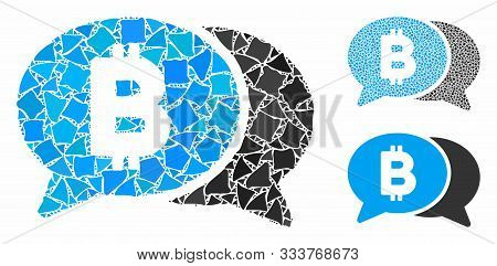 Bitcoin Chat Mosaic Of Unequal Elements In Different Sizes And Color Tinges, Based On Bitcoin Chat I