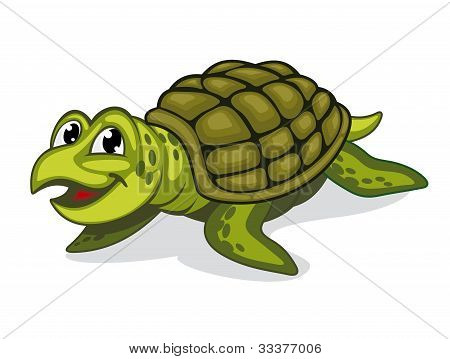 Green smiling turtle reptile in cartoon style poster