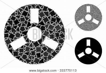 Bobbin Mosaic Of Uneven Items In Various Sizes And Color Tinges, Based On Bobbin Icon. Vector Rough
